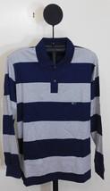 Van Heusen Navy Blue & Gray Stripe Long Sleeve Polo Shirt - Size Medium - $9.95
