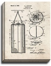 Punching Bag Patent Print Old Look on Canvas - $39.95+