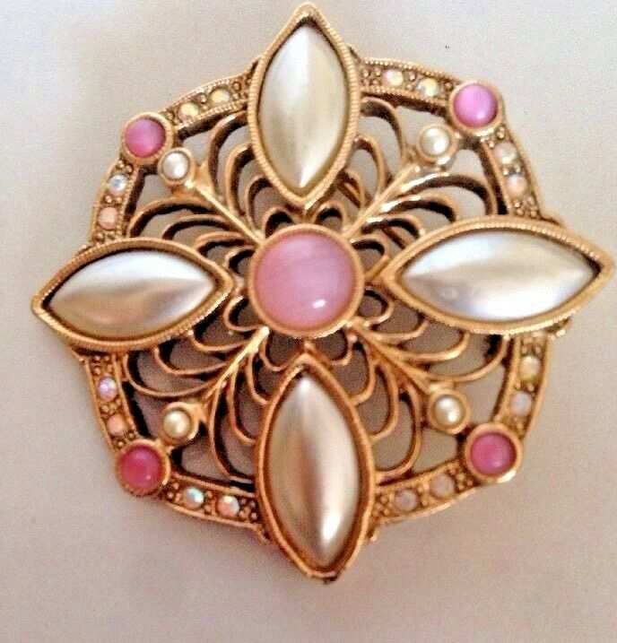 Vtg 1928 BROOCH PIN Pink glass Faux Pearl Rhinestones Artdeco Octagon Gold Tone