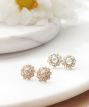 Starburst Flower Stud Earrings, Sparkling Crystal Milky Studs, Crystal Studs - $12.40