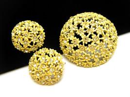 Vintage Rhinestone Enamel Brooch Earring Set Yellow Flower Cluster - $26.90