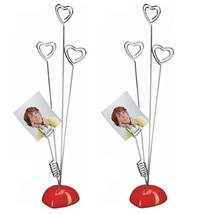 Yunko 2 Pcs Heart Based 4 Standing Heart Wire Holders Memo Clips Holder ... - £9.67 GBP