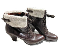 Nine West Size 10.5 Brown Leather Larrina Faux Fur Fold Over Cuffed Boot... - $49.49