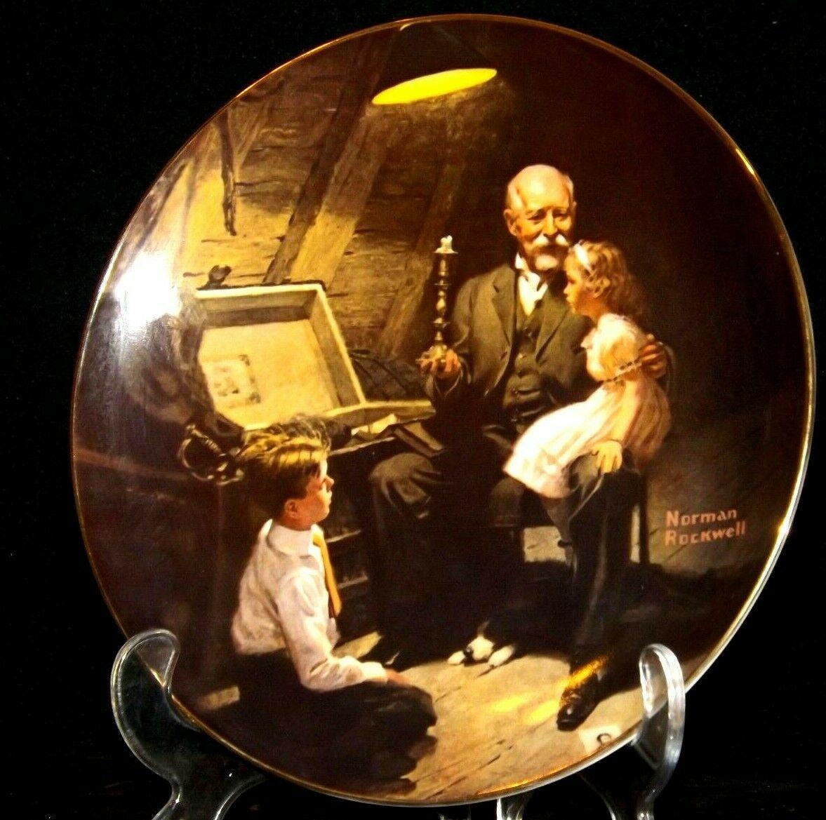 """Grandpa's Treasure Chest"" by Norman Rockwell Decorative Plate AA19-1668 Vinta"
