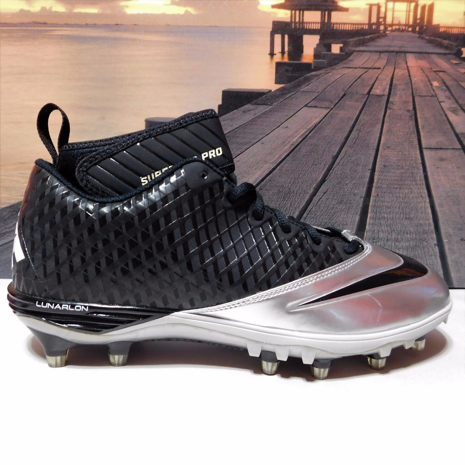 premium selection ca2e4 097cc New Mens 11.5 Nike Lunar Superbad Pro TD Football Cleats Black Silver  534994 ...