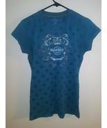 Women's Hard Rock Hotel Sz M Shirt Short Sleeve Blue Cotton Hollywood - $8.90