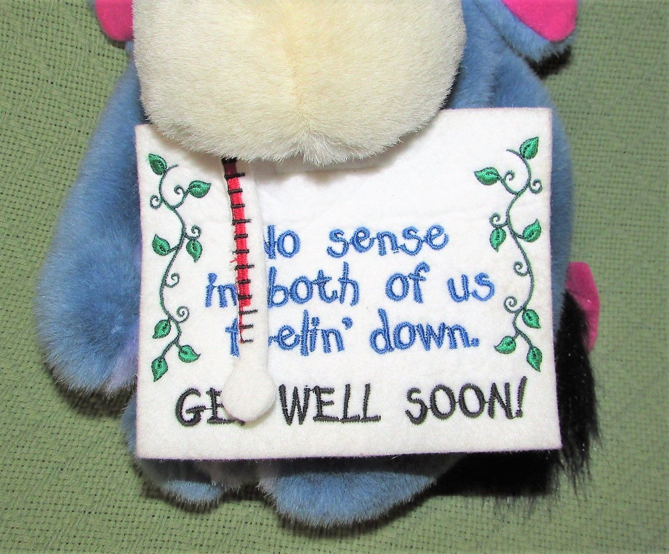 "EEYORE Get Well Plush ICE BAG Thermometer Sign 13"" Plush Stuffed Pooh Disney Toy image 3"
