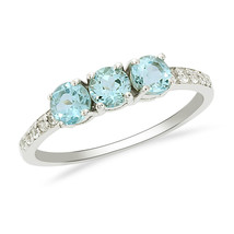 Amazing Three Blue Topaz Gemstone 925 Silver Stackable Eternity Women Ba... - $14.54
