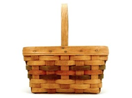 """Longaberger Easter Basket, 11"""" x 8"""" Fixed Handle, Green & Red Accents, 1987 - $29.35"""