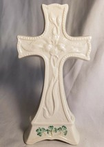 Belleek Ireland Celtic Cross Easter Lily Parian Tabletop 11th Period Gre... - $33.64