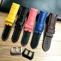 24 26mm Crocodile Pattern Genuine Leather Watchband For Panerai PAM Wriststraps - $31.63+
