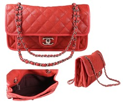 Authentic CHANEL French Riviera Red Quilted Caviar Leather Shoulder Flap... - $2,559.52