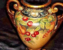 Ceramic hand paintedd Vase with Lid AA18-1265 VintageDouble Handled image 4
