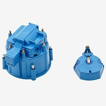 A-Team Performance CR6BL HEI OEM Distributor Cap, Rotor and, Coil Cover Kit Blue