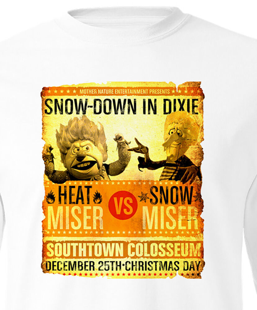 Heat Miser vs Snow Miser T-Shirt long sleeve Rudolph Santa Claus Christmas tee
