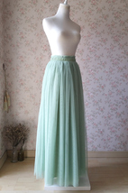 SAGE GREEN Long Maxi Tulle Skirt Full Length Sage Green Wedding Bridesmaid Skirt image 3