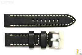 24mm Black Smooth Leather Watch Band Strap w/Stitches Fits Luminox Anti-... - $40.80