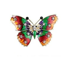"Beautiful Multi-color 1-5/8"" x 1-1/4"" Rhinestone and Enamel BUTTERFLY Br... - $5.93"