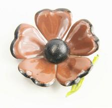ESTATE Jewelry 60's VINTAGE RETRO MOD BLACK & BROWN ENAMEL FLOWER POWER ... - $10.00