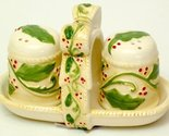 Christmas Holly Salt & Pepper with Rack - Three Piece Set - Ceramic