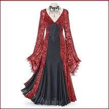 Renassiance Red Sheer Layered Lace Brocade Long Sleeves Giornea Overdre... - $116.95