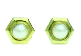 New 14K Solid Yellow Gold 3mm Simulated Pearls Hexagon Stud Earrings Scr... - $23.36