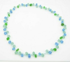 Blue Green Sea Glass Long Necklace No Clasp - $29.69