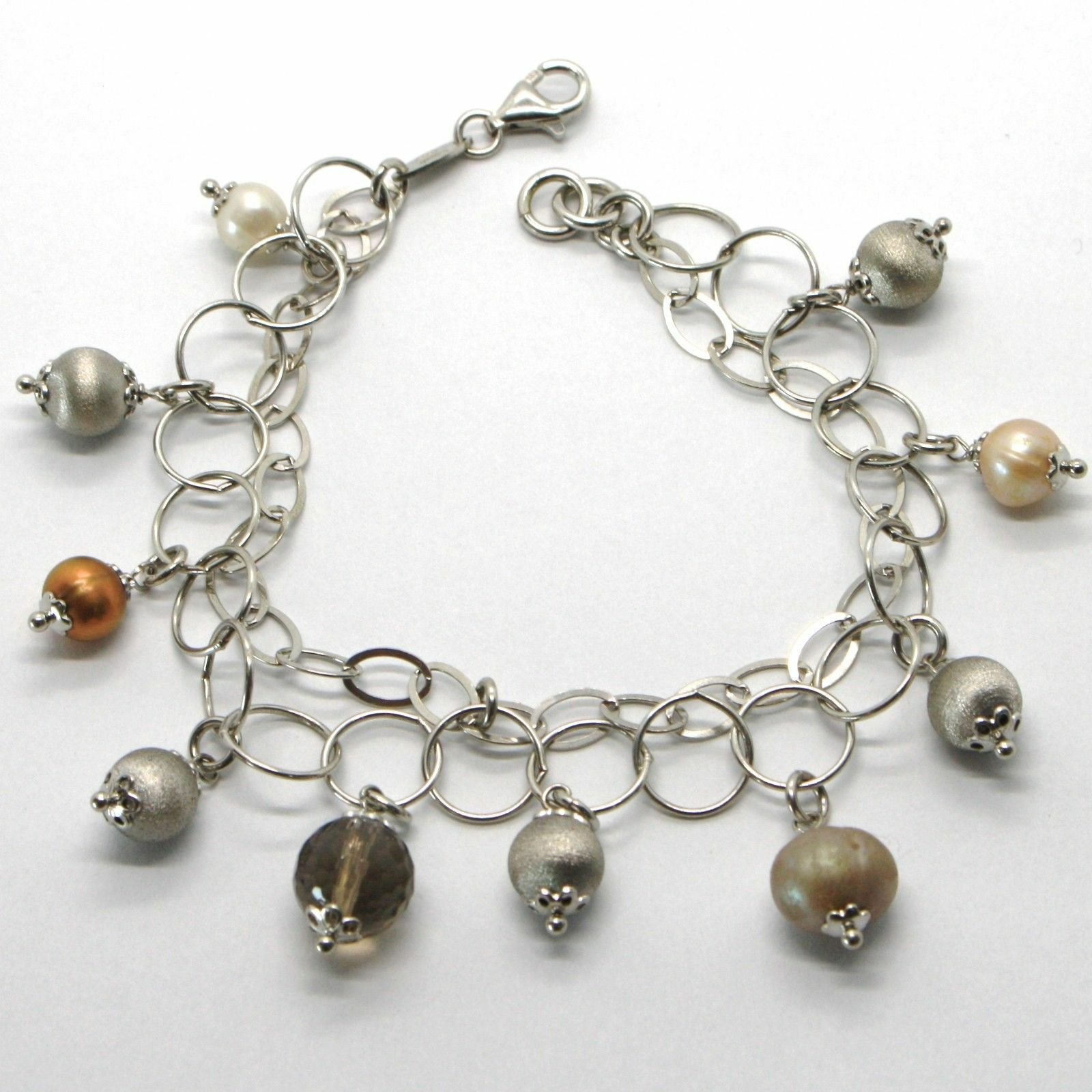 SILVER 925 BRACELET RHODIUM WITH QUARTZ AFFUMICARTO AND PEARLS OF WATER DOLCE