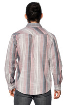 LW Men's Classic Checkered Striped Western Rodeo Pearl Snap Button Up Shirt image 5