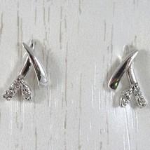 White Gold Earrings 750 18K Stud Earrings, Branch & Flower with Cz Long, 1 CM image 1
