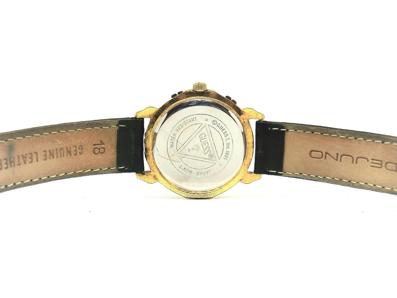 90s Retro GUESS Black Sun Moon Phase Unisex Watch Cleaned New Battery Installed
