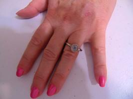 Macys Size 8.5 Silver Tone Simulated  Blue Diamond Center Ring B343 - $8.63