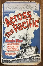 *ACROSS THE PACIFIC (1926) Silent Film Window Card Spanish-American War ... - $95.00