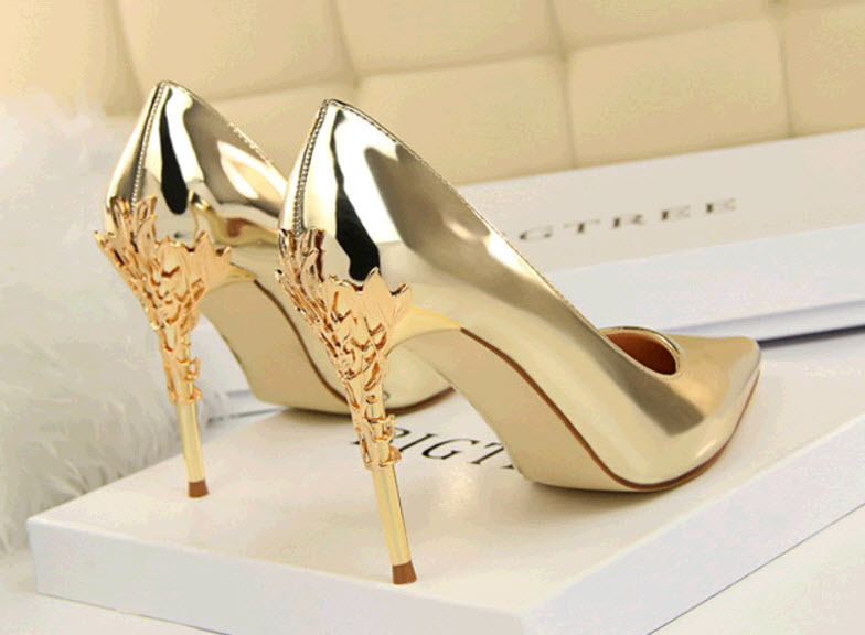 Primary image for pp458 luxury candy color pump w metallic heels, US Size 5-8.5, gold