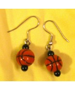 BASKETBALL Dangle Pierced EARRINGS on French Wires Great for March Madness - $19.75
