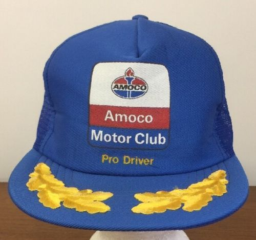 Vtg Amoco Motor Club Trucker Hat SnapBack Pro Driver Blue Gold Leaf Made In USA