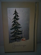 Vintage 1930's Christmas Card Art Deco Cottage Tree Winter Scene - $3.00