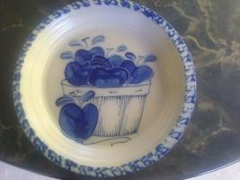 Eldreth Pottery blue decoration Stoneware  Glazed Apple  Pie Plate Dish - $19.99