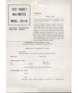 Vest Pocket Multimeter Model M15 - Universal Enterprises - Portland Oregon. - $1.47