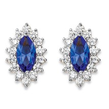 PalmBeach Jewelry .98 TCW Blue Crystal and CZ 14k Gold-Plated Halo Stud Earrings - $23.99