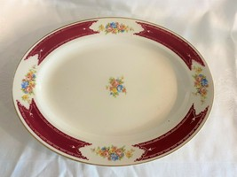 Vintage Homer Laughlin Majestic Burgundy Roses and Flowers Oval Platter  - £12.94 GBP