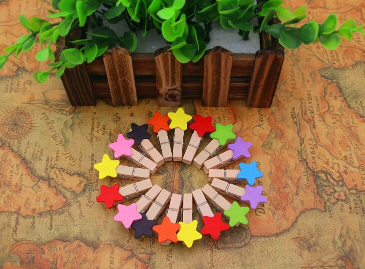 Primary image for 120pieces Children's Birthday Party Decoration,Mixed Star Wooden Clips,Wood Pegs