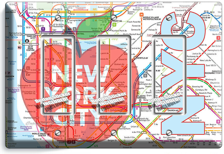 NYC NEW YORK CITY BIG APPLE SUBWAY MAP LIGHT SWITCH OUTLES WALL PLATE ROOM DECOR image 11