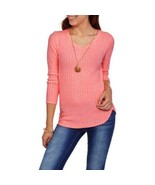 No Boundaries Women's V-Neck Brushed-Knit Sweater Long-Sleeve Size Peach... - $15.97