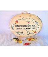 VTG FISHERMAN Fishing Sign Painted on Slate by Plain Jane 1996 + 2 LURES... - $38.00