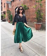 New green metallic pleated high waist skirt midi length metalic spring s... - $54.67 CAD