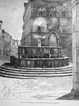 PERUGIA Italy Palace Palazzo Communale Fountain - 1888 Original Print En... - $21.60