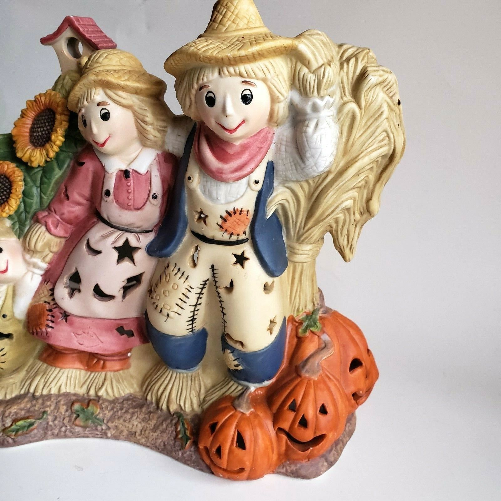 Scarecrow Family Tealight Candle Holder Hand-painted Porcelain Partylite P7323