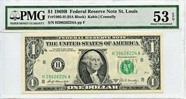 FR. 1905H 1969B $1 Federal Reserve Note St. Louis PMG Unc 53 EPQ [H39626... - $33.95