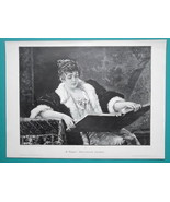LOVELY MAIDEN Reading Book - VICTORIAN Era Engraving Print - $21.60